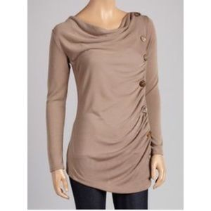 NWT J Mode Khaki Side Button Boat Neck Top